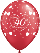 Happy 40th Anniversary Hearts Red Balloons